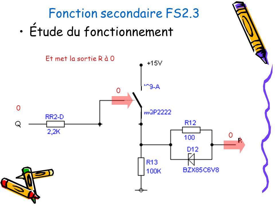 Fonction secondaire FS2.3 Étude du fonctionnement Et met la sortie R à 0 Q 0 0 0