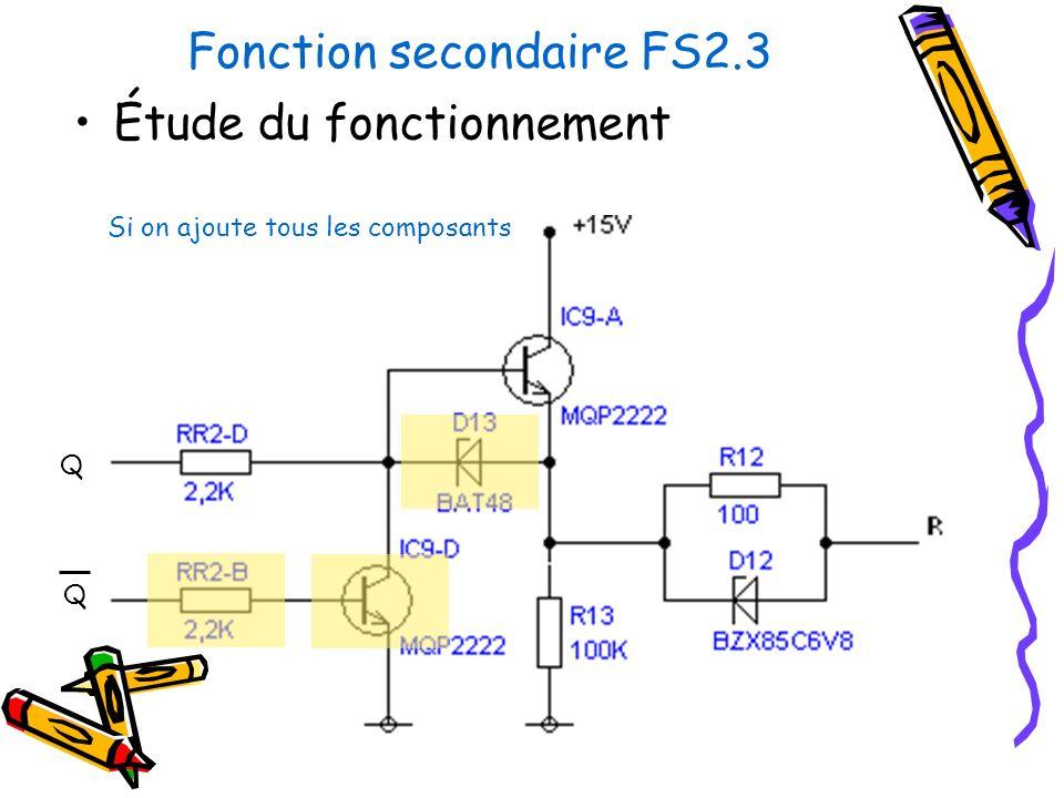Fonction secondaire FS2.3 Étude du fonctionnement Si on ajoute tous les composants Q Q