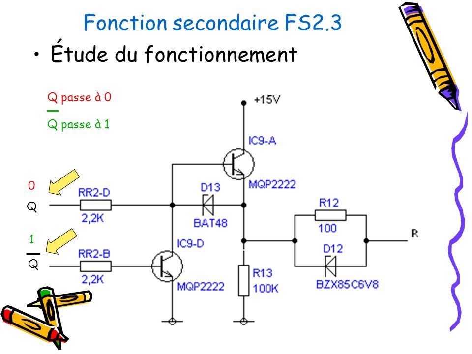 Fonction secondaire FS2.3 Étude du fonctionnement Q Q Q passe à 0 Q passe à 1 0 1