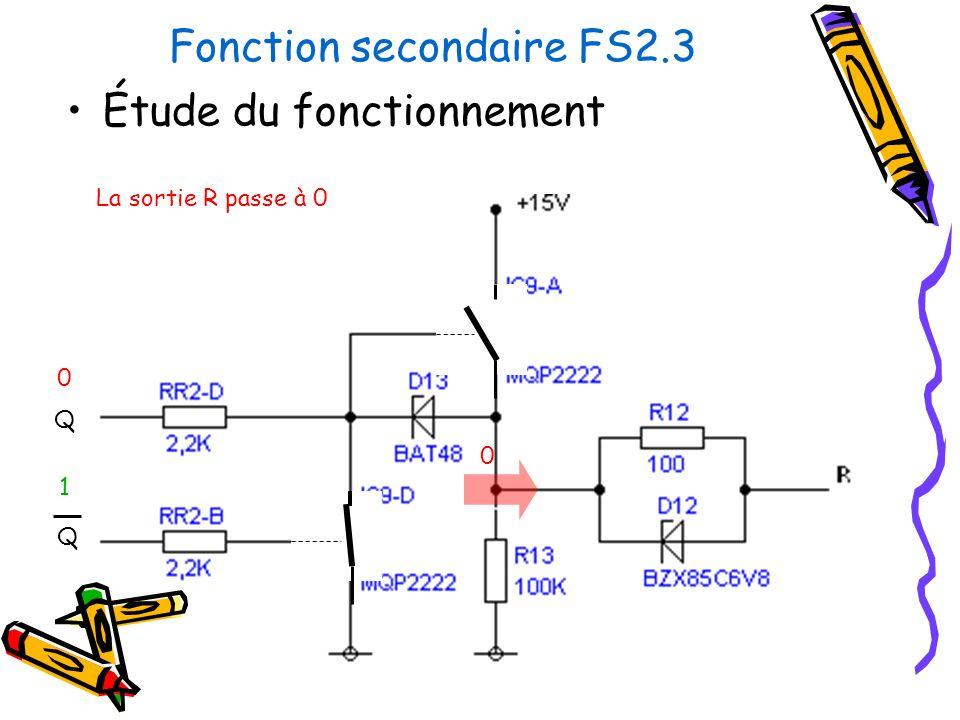 Fonction secondaire FS2.3 Étude du fonctionnement Q Q La sortie R passe à 0 0 1 0