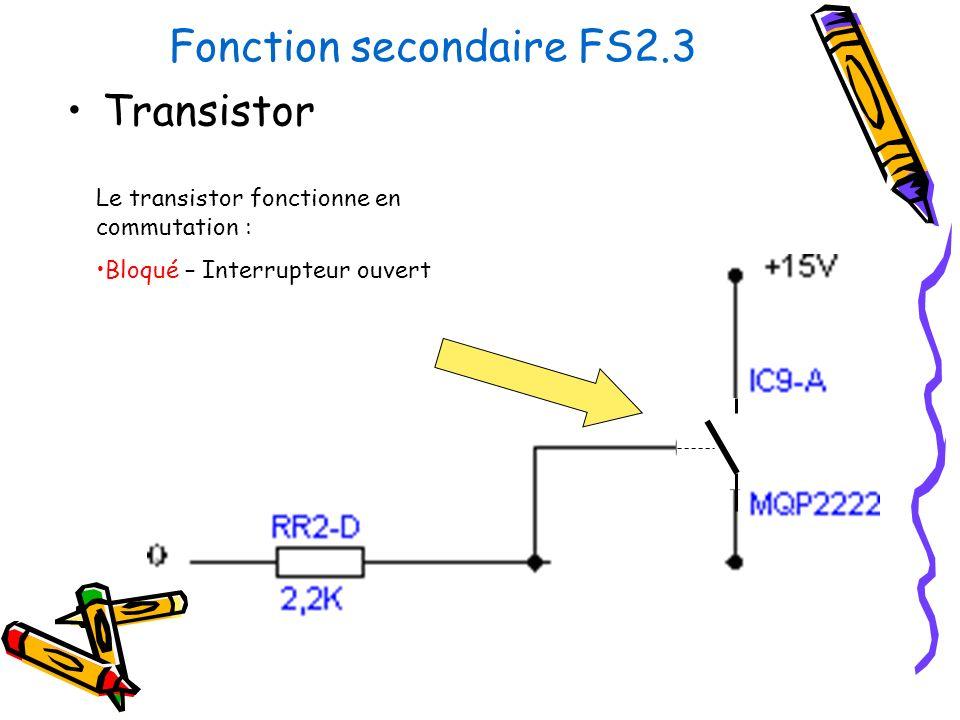 Fonction secondaire FS2.3 Transistor Le transistor fonctionne en commutation : Bloqué – Interrupteur ouvert