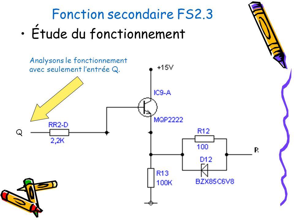 Fonction secondaire FS2.3 Étude du fonctionnement Analysons le fonctionnement avec seulement lentrée Q. Q