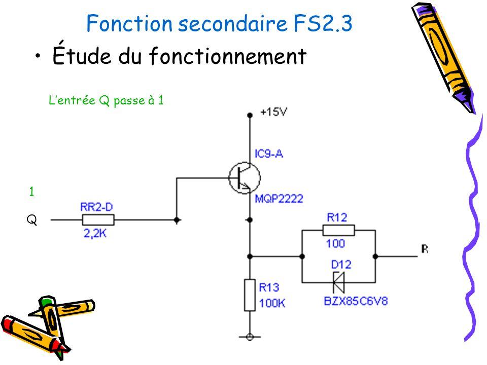 Fonction secondaire FS2.3 Étude du fonctionnement Lentrée Q passe à 1 Q 1