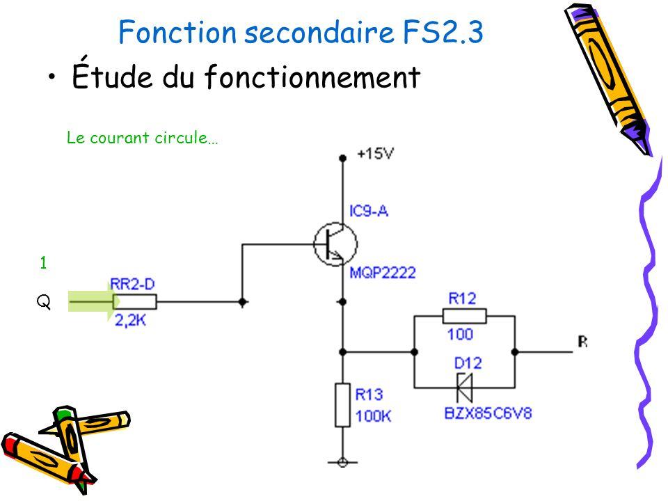 Fonction secondaire FS2.3 Étude du fonctionnement Le courant circule… Q 1