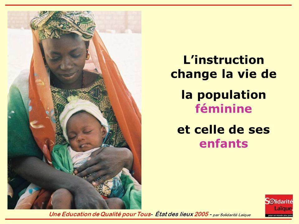 Une Education de Qualité pour Tous- État des lieux 2005 - par Solidarité Laïque Linstruction change la vie de la population féminine et celle de ses e