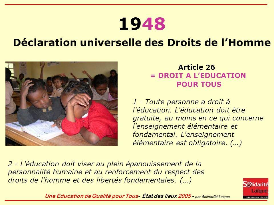 Une Education de Qualité pour Tous- État des lieux 2005 - par Solidarité Laïque 1948 Déclaration universelle des Droits de lHomme Article 26 = DROIT A