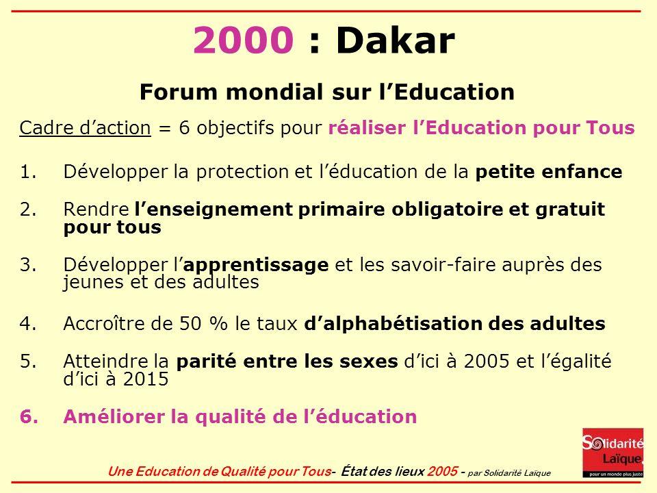 Une Education de Qualité pour Tous- État des lieux 2005 - par Solidarité Laïque 2000 : Dakar Forum mondial sur lEducation Cadre daction = 6 objectifs