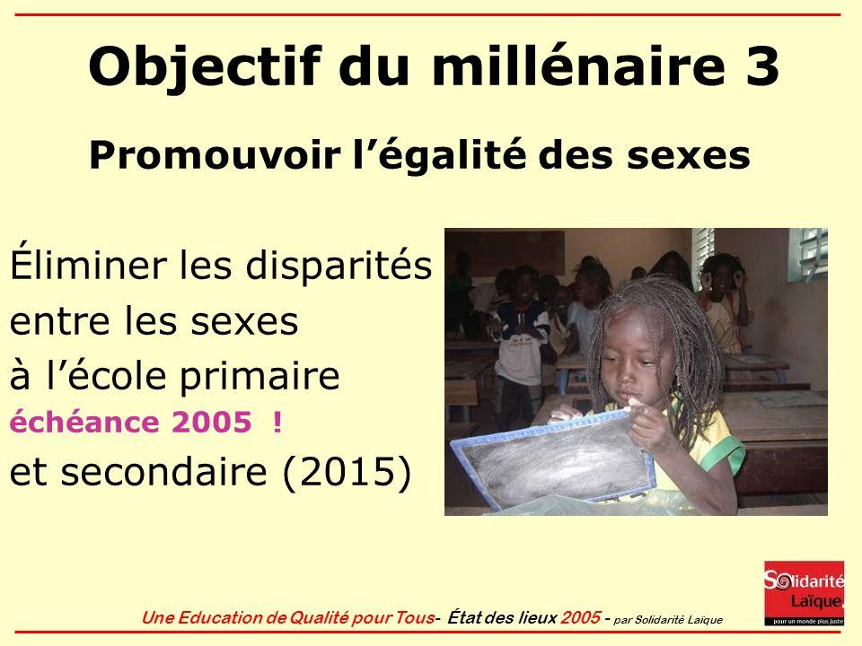Une Education de Qualité pour Tous- État des lieux 2005 - par Solidarité Laïque Objectif du millénaire 3 Promouvoir légalité des sexes Éliminer les di