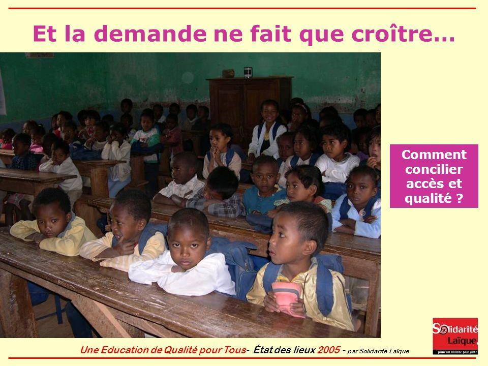 Une Education de Qualité pour Tous- État des lieux 2005 - par Solidarité Laïque Pourtant léducation est la clé du développement… L éducation est la base de l élévation du niveau de vie: elle permet daméliorer la santé et est un moyen de lutter durablement contre la pauvreté.