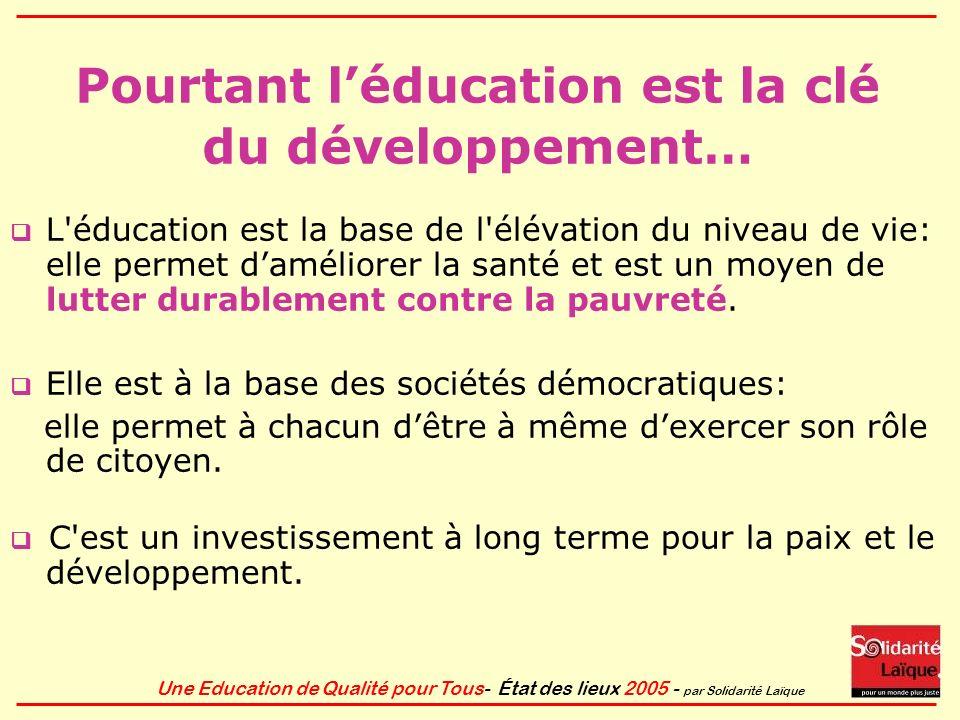 Une Education de Qualité pour Tous- État des lieux 2005 - par Solidarité Laïque Objectif du millénaire 3 Promouvoir légalité des sexes Éliminer les disparités entre les sexes à lécole primaire échéance 2005 .
