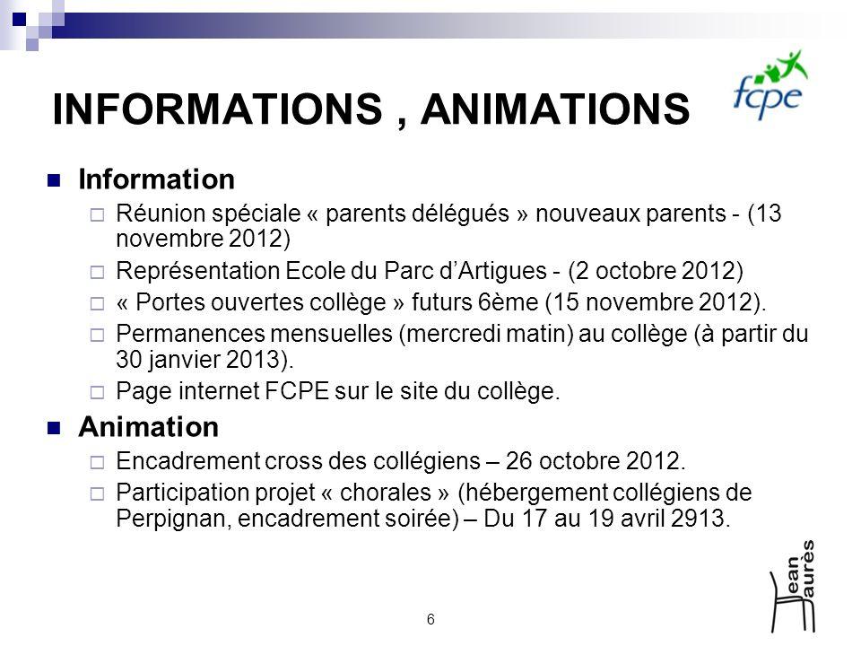 6 INFORMATIONS, ANIMATIONS Information Réunion spéciale « parents délégués » nouveaux parents - (13 novembre 2012) Représentation Ecole du Parc dArtig