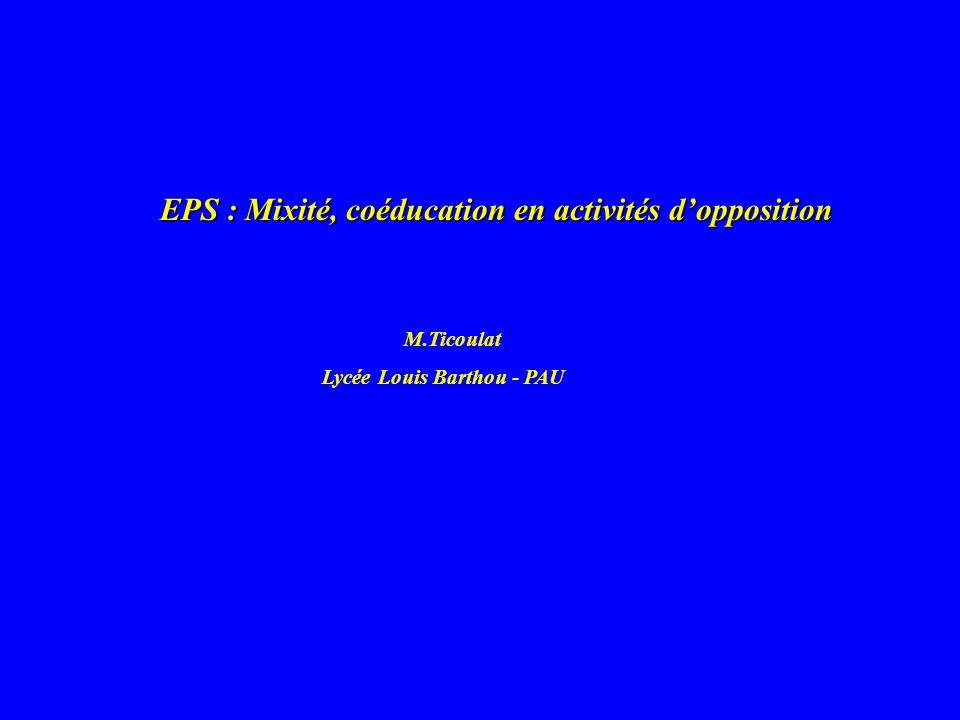 EPS : Mixité, coéducation en activités dopposition M.Ticoulat Lycée Louis Barthou - PAU