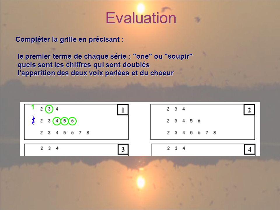 Evaluation Compléter la grille en précisant : le premier terme de chaque série : one ou soupir le premier terme de chaque série : one ou soupir quels sont les chiffres qui sont doublés quels sont les chiffres qui sont doublés l apparition des deux voix parlées et du choeur l apparition des deux voix parlées et du choeur 1