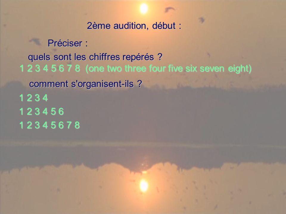 1 2 3 4 5 6 7 8 (one two three four five six seven eight) 2ème audition, début : 2ème audition, début : Préciser Préciser : quels sont les chiffres repérés .