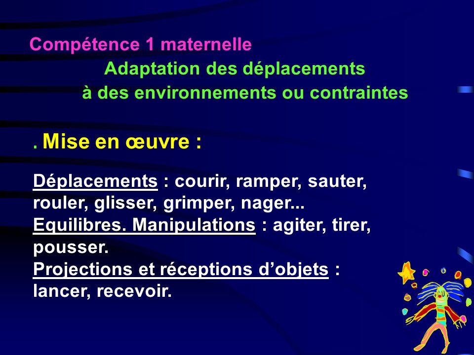 1. Adapter ses déplacements à des environnements ou contraintes 2. Coopérer et sopposer 3. Sexprimer sur un rythme musical ou non 4. Se repérer et se