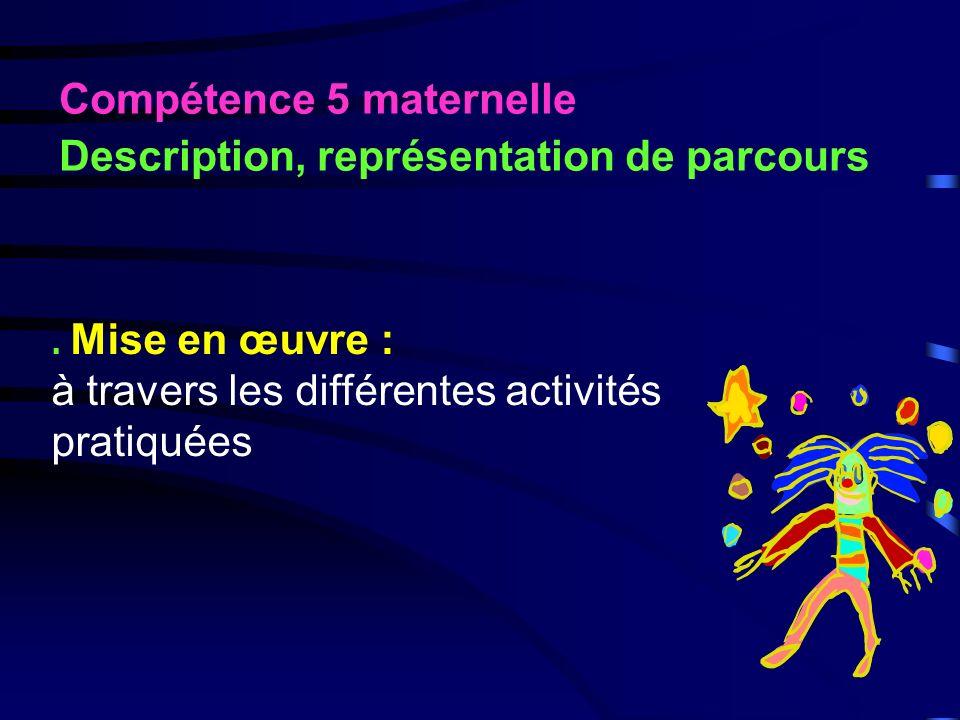 Compétence 4 maternelle Repérage et déplacement dans lespace. Mise en œuvre : parcours orientés