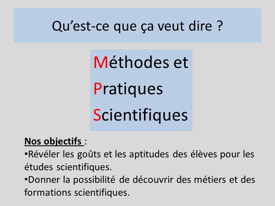 Quest-ce que ça veut dire ? Méthodes et Pratiques Scientifiques Nos objectifs : Révéler les goûts et les aptitudes des élèves pour les études scientif