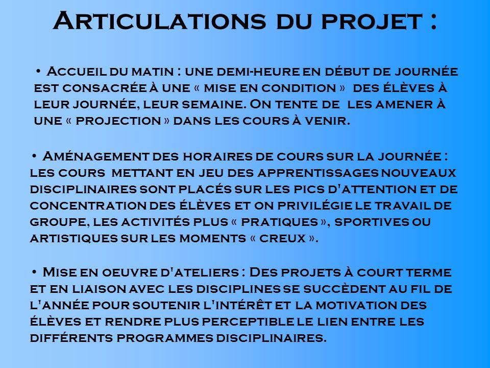 Articulations du projet : Aménagement des horaires de cours sur la journée : les cours mettant en jeu des apprentissages nouveaux disciplinaires sont