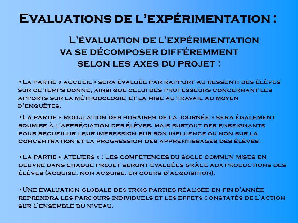 Evaluations de l'expérimentation : L'évaluation de l'expérimentation va se décomposer différemment selon les axes du projet : La partie « accueil » se