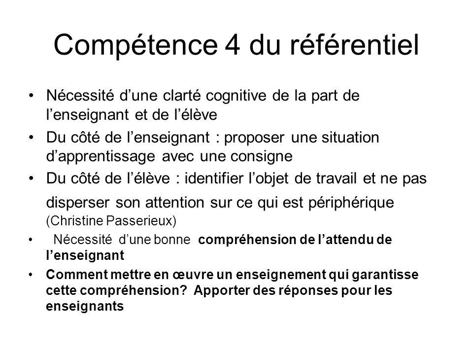 Compétence 4 du référentiel Nécessité dune clarté cognitive de la part de lenseignant et de lélève Du côté de lenseignant : proposer une situation dap