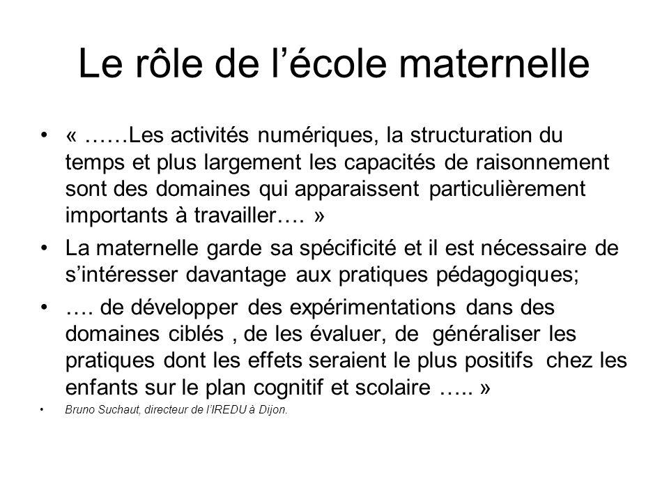 Le rôle de lécole maternelle « ……Les activités numériques, la structuration du temps et plus largement les capacités de raisonnement sont des domaines qui apparaissent particulièrement importants à travailler….
