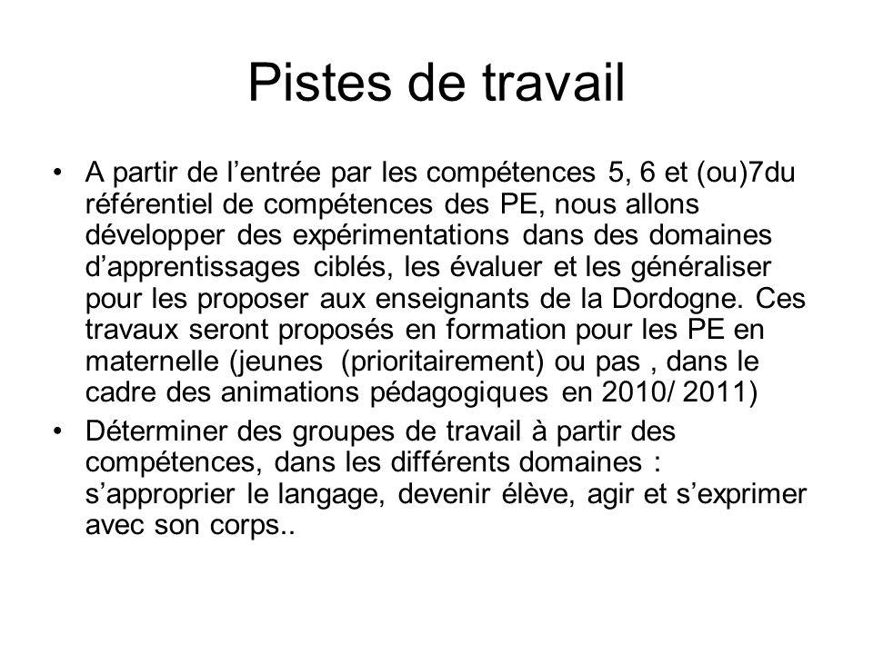 Pistes de travail A partir de lentrée par les compétences 5, 6 et (ou)7du référentiel de compétences des PE, nous allons développer des expérimentations dans des domaines dapprentissages ciblés, les évaluer et les généraliser pour les proposer aux enseignants de la Dordogne.