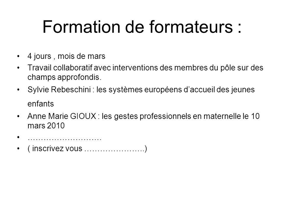 Formation de formateurs : 4 jours, mois de mars Travail collaboratif avec interventions des membres du pôle sur des champs approfondis. Sylvie Rebesch