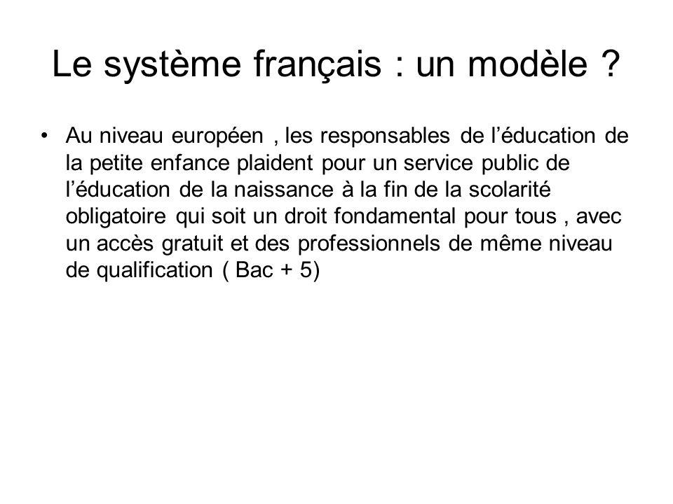 Le système français : un modèle ? Au niveau européen, les responsables de léducation de la petite enfance plaident pour un service public de léducatio