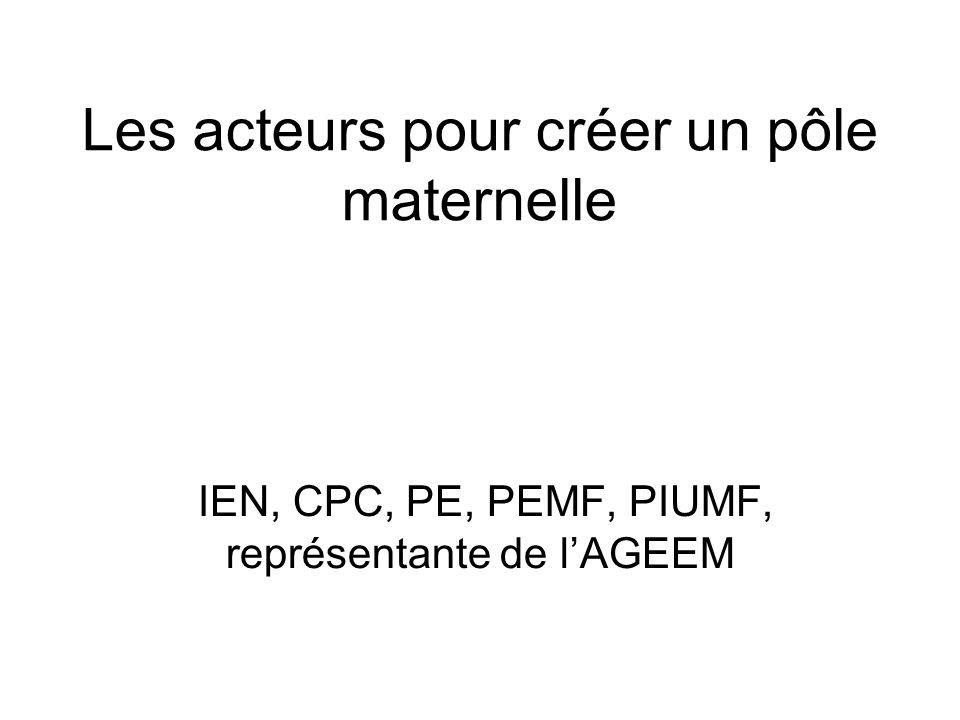 Les acteurs pour créer un pôle maternelle IEN, CPC, PE, PEMF, PIUMF, représentante de lAGEEM