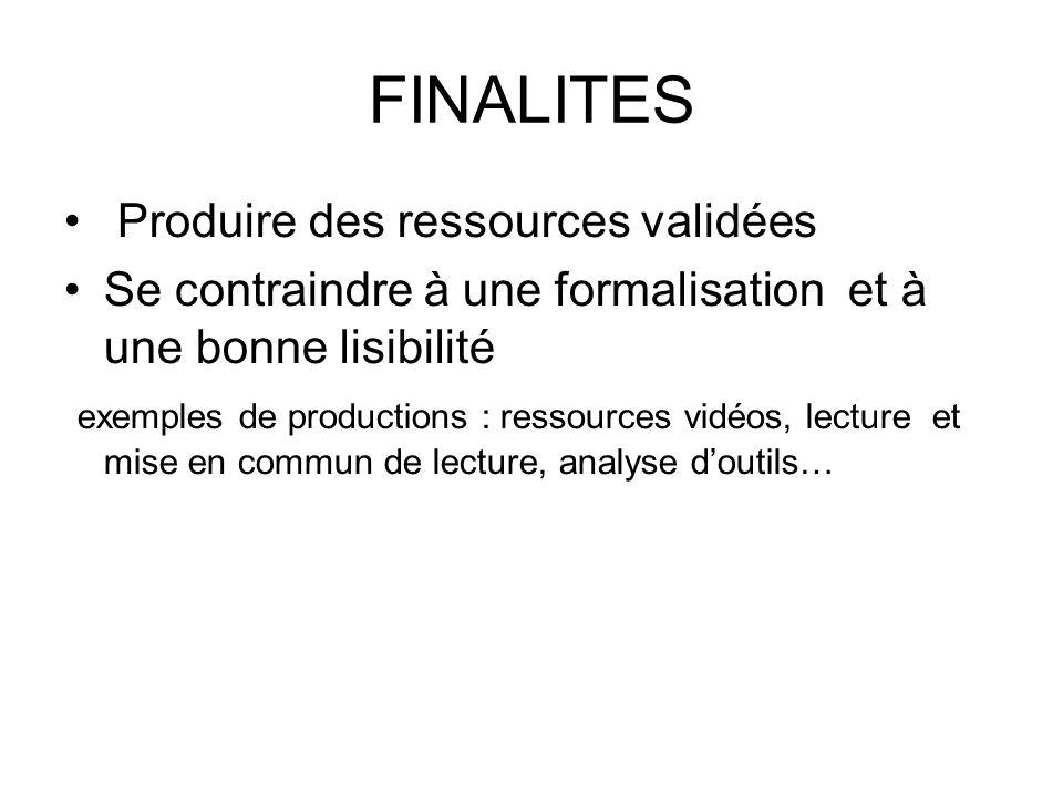 FINALITES Produire des ressources validées Se contraindre à une formalisation et à une bonne lisibilité exemples de productions : ressources vidéos, lecture et mise en commun de lecture, analyse doutils…
