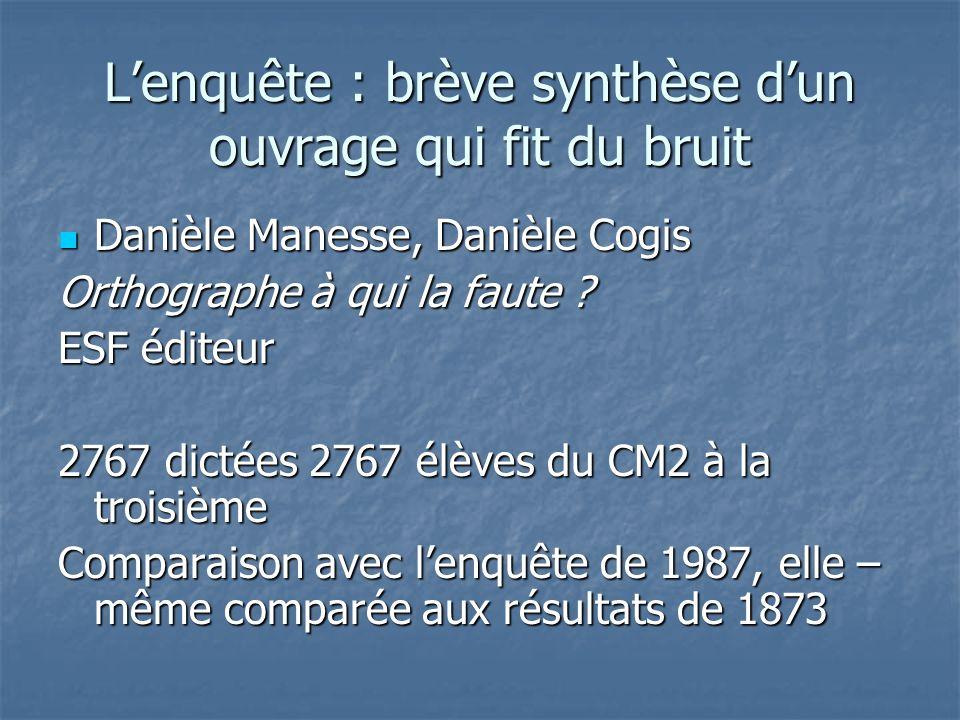 Lenquête : brève synthèse dun ouvrage qui fit du bruit Danièle Manesse, Danièle Cogis Danièle Manesse, Danièle Cogis Orthographe à qui la faute ? ESF