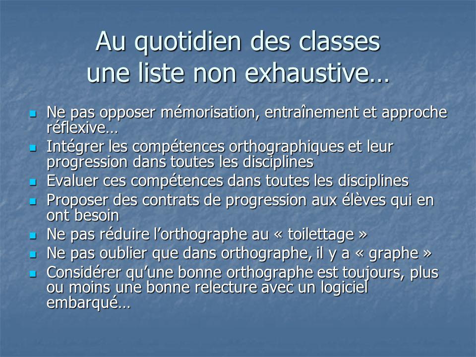 Au quotidien des classes une liste non exhaustive… Ne pas opposer mémorisation, entraînement et approche réflexive… Ne pas opposer mémorisation, entra