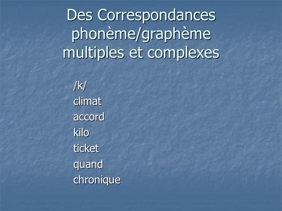 Des Correspondances phonème/graphème multiples et complexes /k/climataccordkiloticketquandchronique
