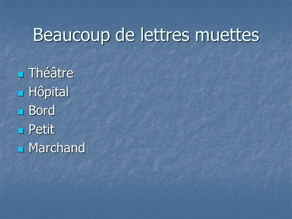 Beaucoup de lettres muettes Théâtre Théâtre Hôpital Hôpital Bord Bord Petit Petit Marchand Marchand