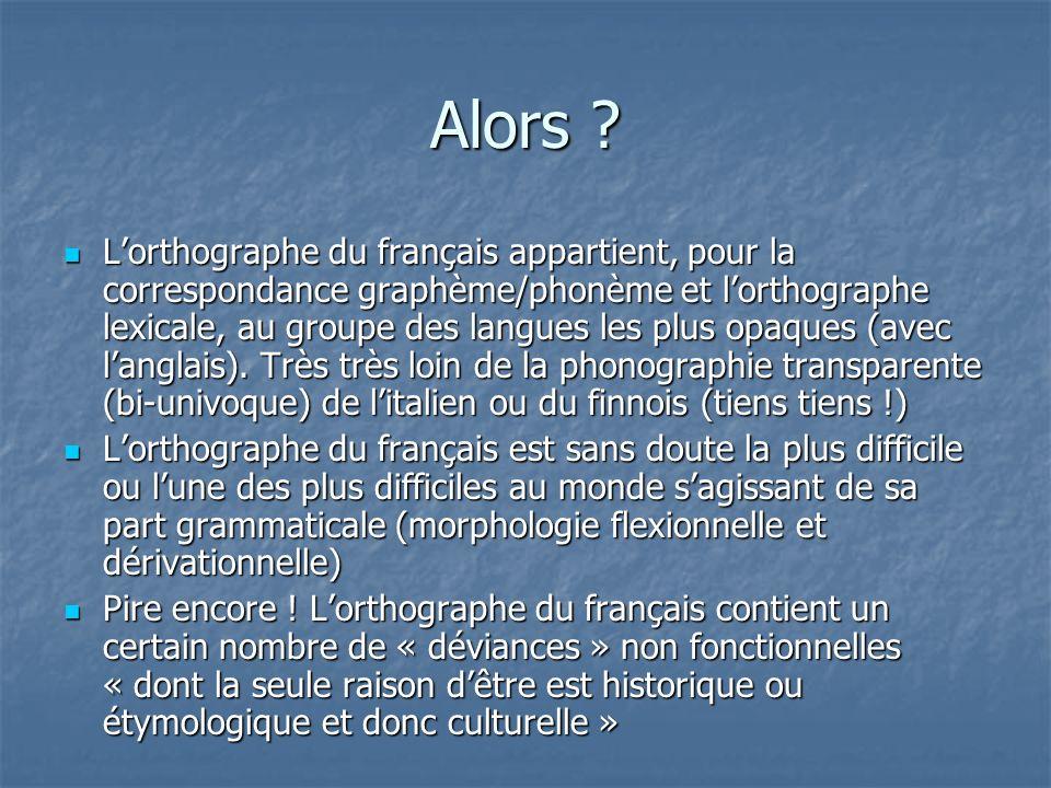 Alors ? Lorthographe du français appartient, pour la correspondance graphème/phonème et lorthographe lexicale, au groupe des langues les plus opaques