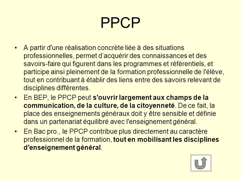 PPCP A partir d une réalisation concrète liée à des situations professionnelles, permet dacquérir des connaissances et des savoirs-faire qui figurent dans les programmes et référentiels, et participe ainsi pleinement de la formation professionnelle de l élève, tout en contribuant à établir des liens entre des savoirs relevant de disciplines différentes.