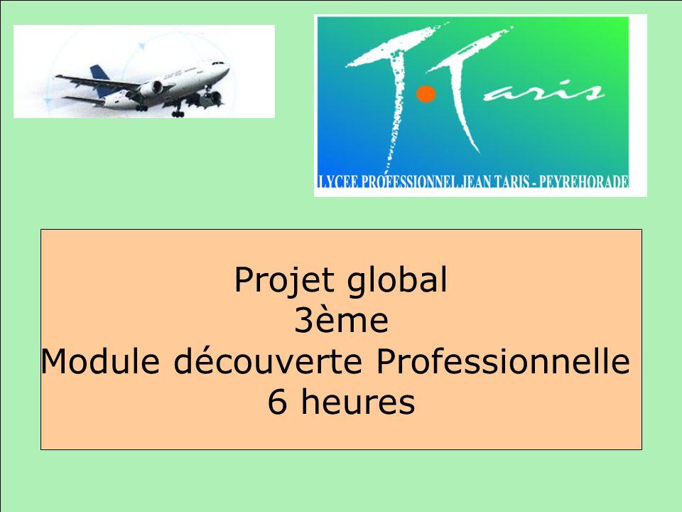 Projet global 3ème Module découverte Professionnelle 6 heures
