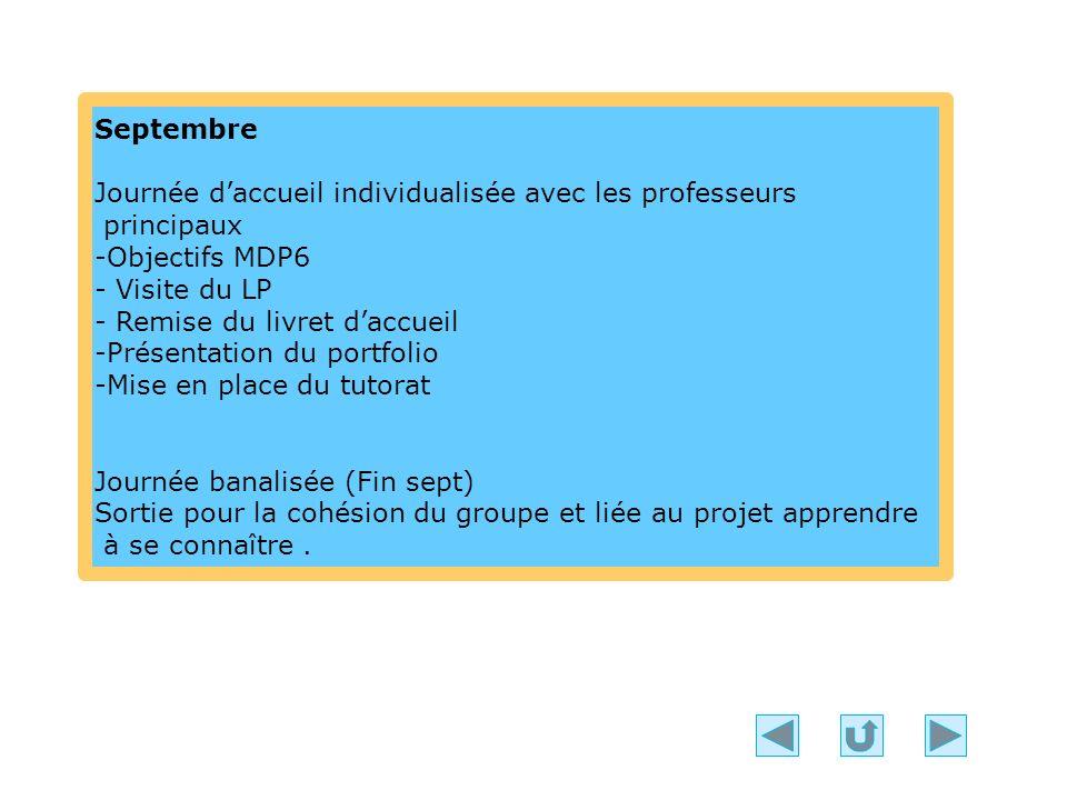 Septembre Journée daccueil individualisée avec les professeurs principaux -Objectifs MDP6 - Visite du LP - Remise du livret daccueil -Présentation du