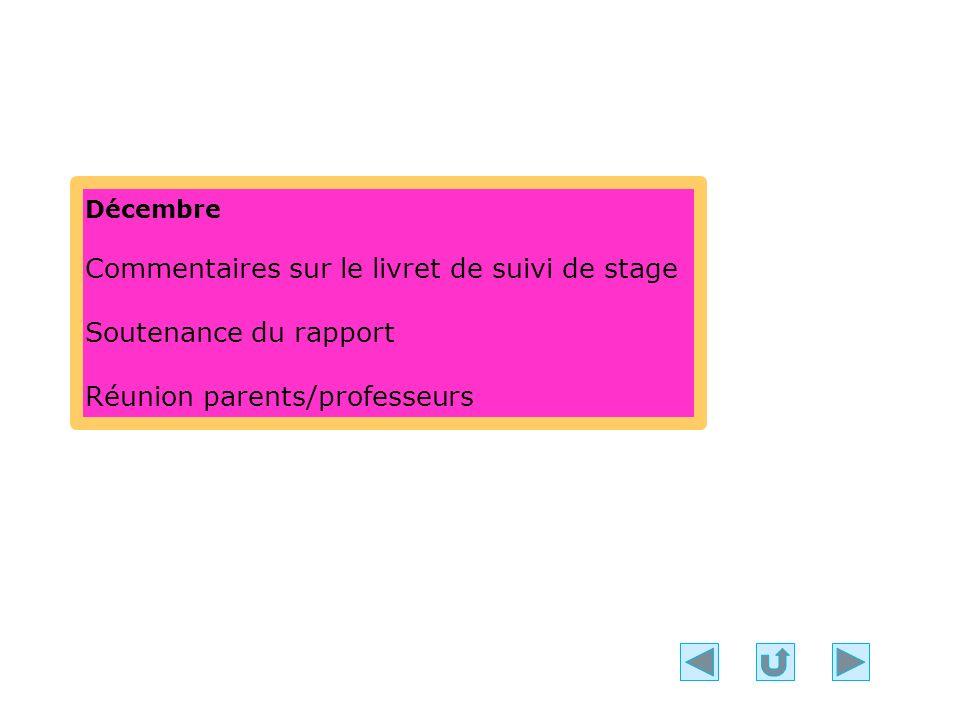 Décembre Commentaires sur le livret de suivi de stage Soutenance du rapport Réunion parents/professeurs