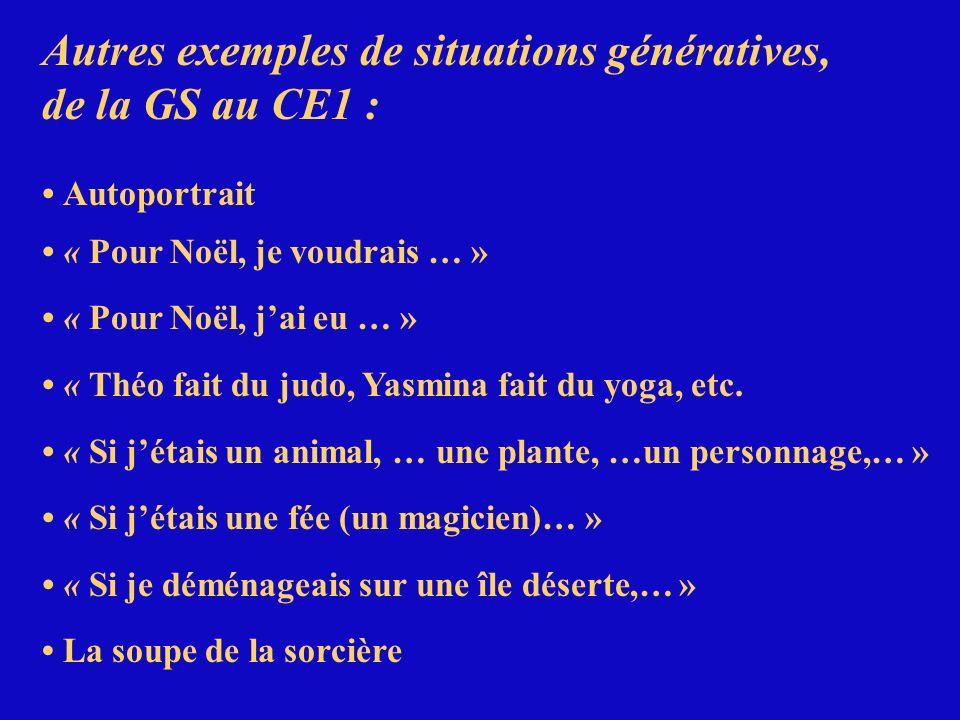 Autres exemples de situations génératives, de la GS au CE1 : Autoportrait « Pour Noël, je voudrais … » « Pour Noël, jai eu … » « Théo fait du judo, Ya