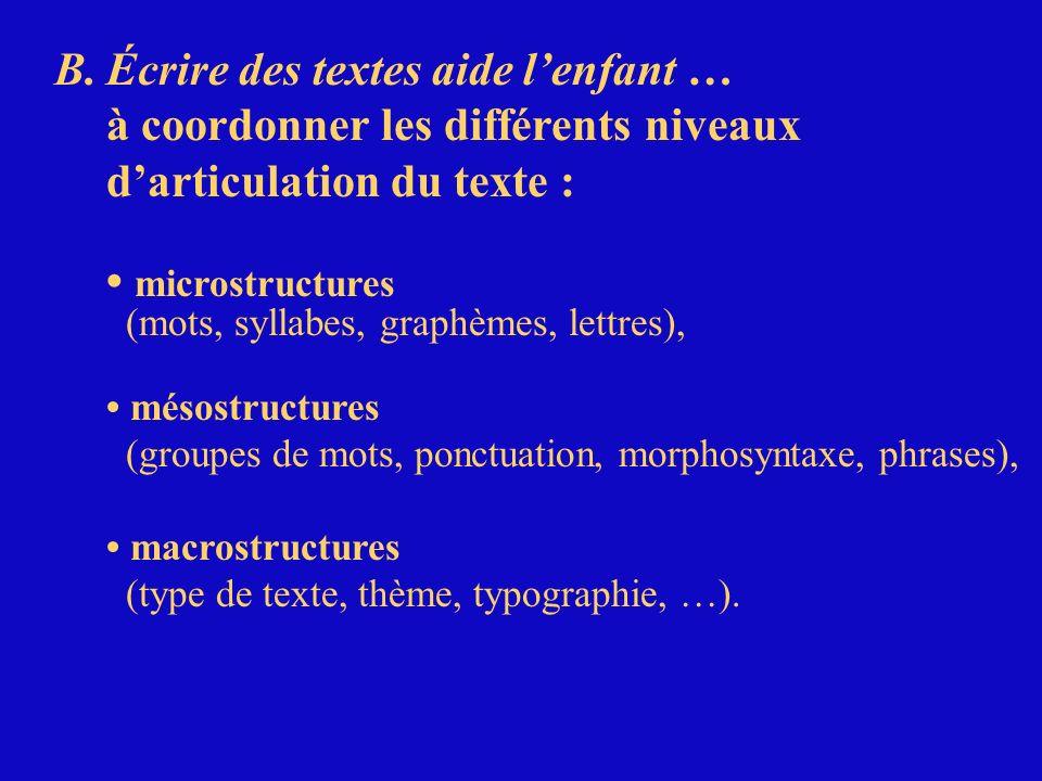 B.Écrire des textes aide lenfant … à coordonner les différents niveaux darticulation du texte : microstructures (mots, syllabes, graphèmes, lettres),