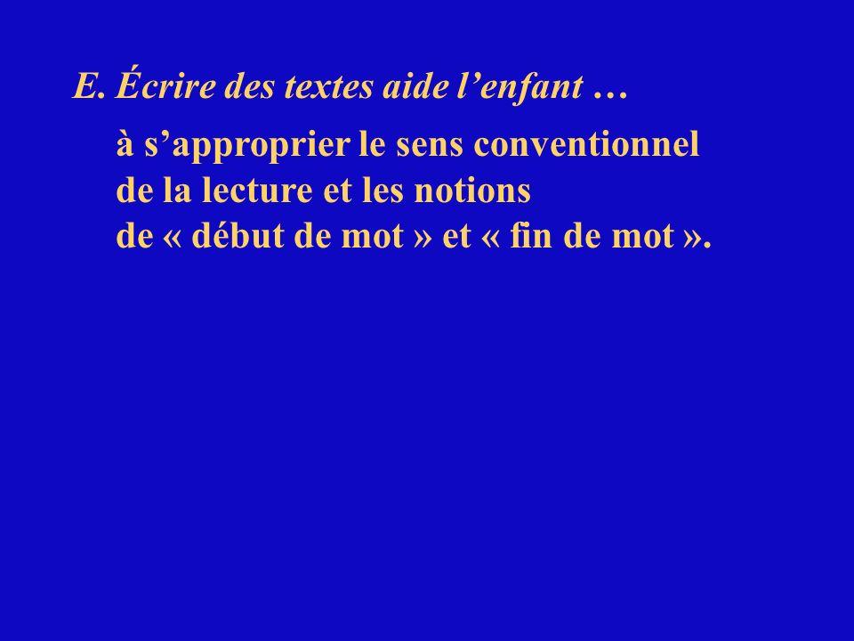 E.Écrire des textes aide lenfant … à sapproprier le sens conventionnel de la lecture et les notions de « début de mot » et « fin de mot ».