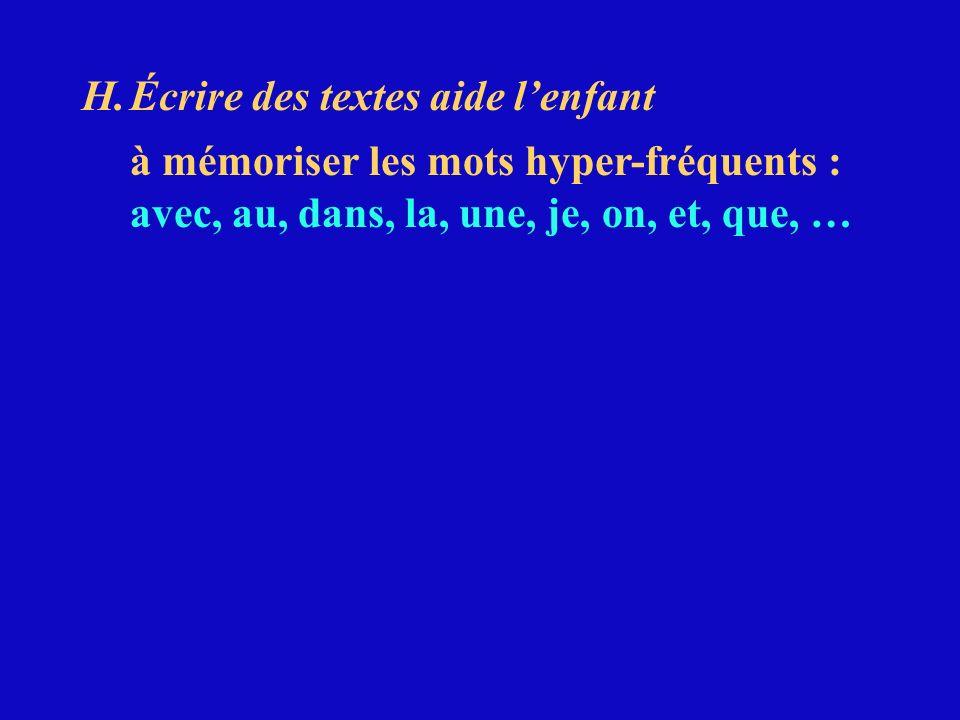 H.Écrire des textes aide lenfant à mémoriser les mots hyper-fréquents : avec, au, dans, la, une, je, on, et, que, …