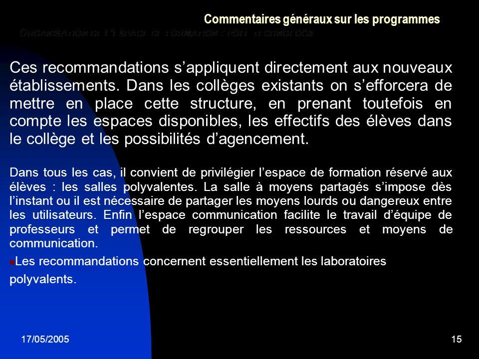 17/05/200515 Commentaires généraux sur les programmes Ces recommandations sappliquent directement aux nouveaux établissements. Dans les collèges exist