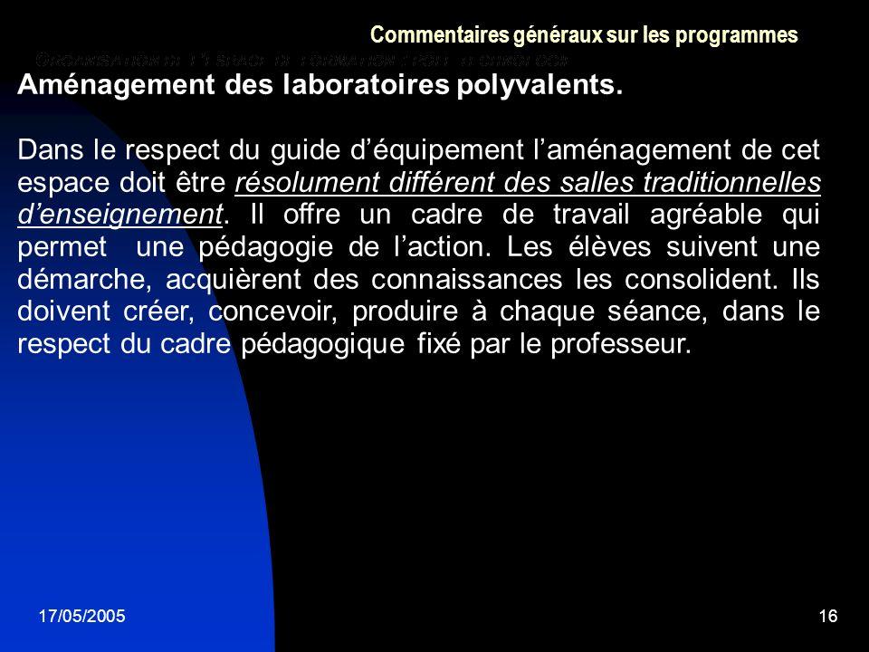 17/05/200516 Commentaires généraux sur les programmes Aménagement des laboratoires polyvalents. Dans le respect du guide déquipement laménagement de c