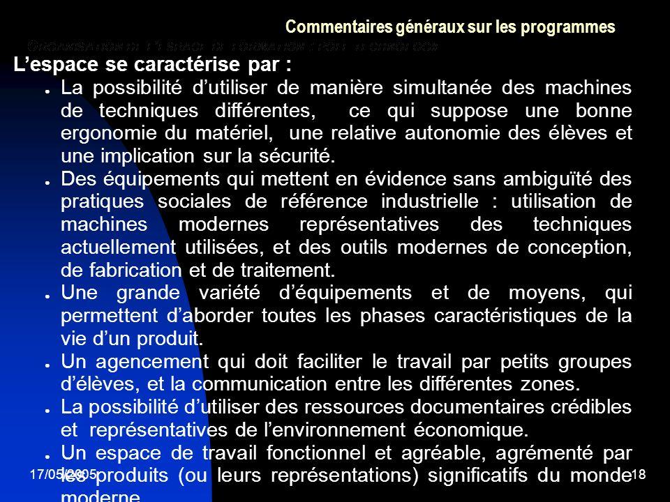 17/05/200518 Commentaires généraux sur les programmes Lespace se caractérise par : La possibilité dutiliser de manière simultanée des machines de tech