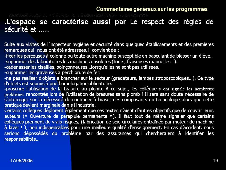 17/05/200519 Commentaires généraux sur les programmes Lespace se caractérise aussi par Le respect des règles de sécurité et.....