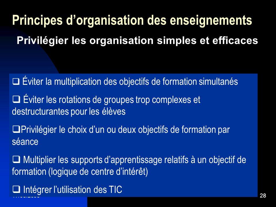 17/05/200528 Principes dorganisation des enseignements Privilégier les organisation simples et efficaces Éviter la multiplication des objectifs de for