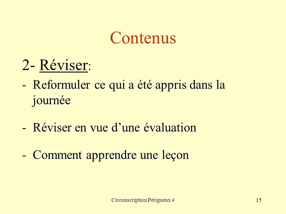 Circonscription Périgueux 415 Contenus 2- Réviser : -Reformuler ce qui a été appris dans la journée -Réviser en vue dune évaluation -Comment apprendre