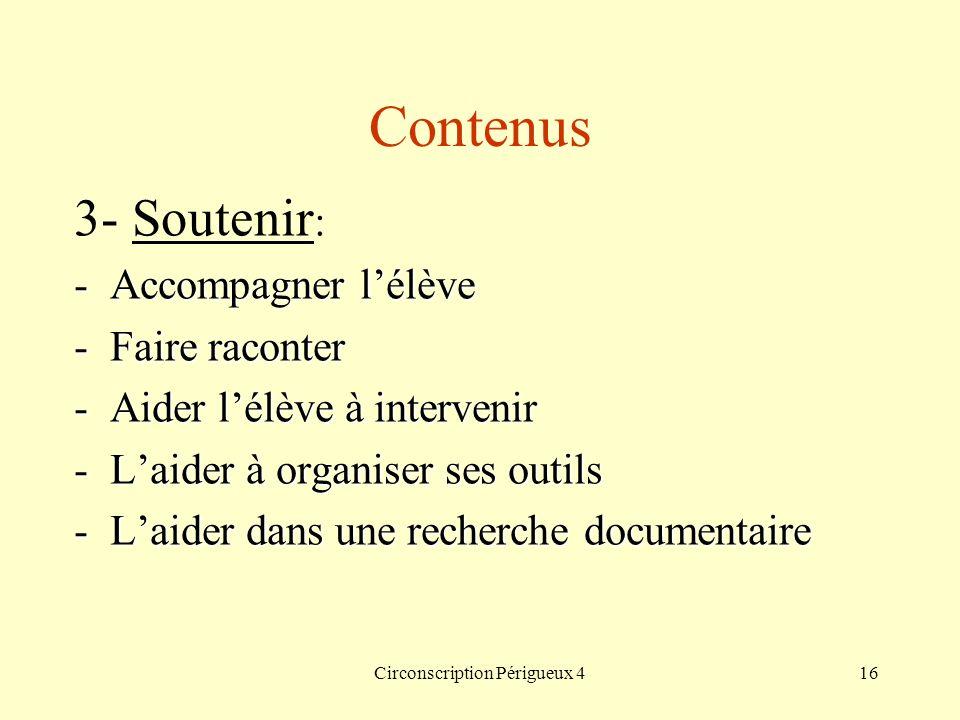 Circonscription Périgueux 416 Contenus 3- Soutenir : -Accompagner lélève -Faire raconter -Aider lélève à intervenir -Laider à organiser ses outils -La